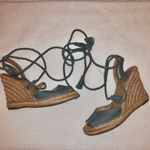 denim lace up espadrilles